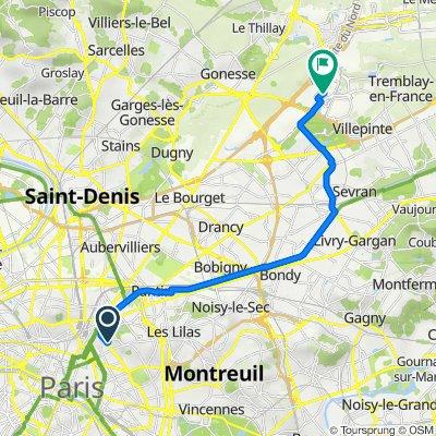 De 13 Cité Saint-Chaumont, Paris à 13–307 Rue de la Perdrix, Tremblay-en-France