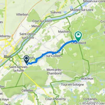 26 Chemin des Pioches, Vineuil naar Route de la Commission, Chambord