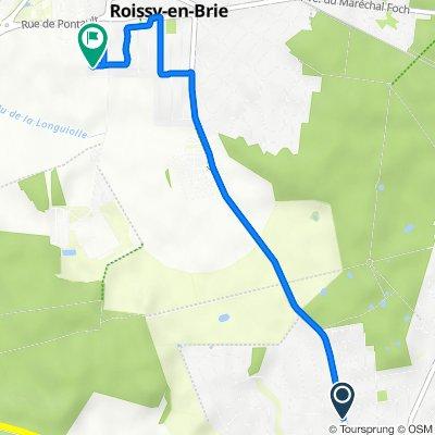De 43bis Route de Roissy, Ozoir-la-Ferrière à 18 Rue des Terres Rouges, Roissy-en-Brie