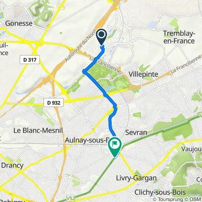 De 13 Rue de la Perdrix, Tremblay-en-France à 41bis Allée Lamoricière, Aulnay-sous-Bois