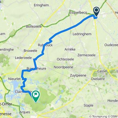 De 317 Route de Steenvoorde, Wormhout à Route Forestière du Fort Rouge, Arques