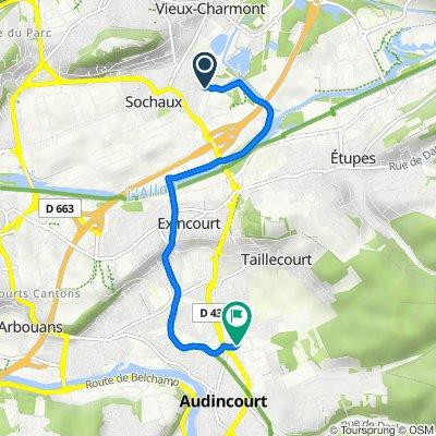 De 23 Rue des Chênes, Sochaux à 3 Rue Raoul Follereau, Audincourt