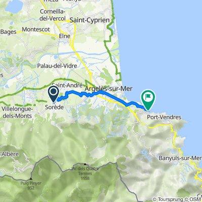 De Route de Palau del Vidre 31, Sorède à Place de la République 22, Collioure