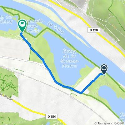 De Chemin de Halage, Verneuil-sur-Seine à Chemin du Rouillard, Verneuil-sur-Seine