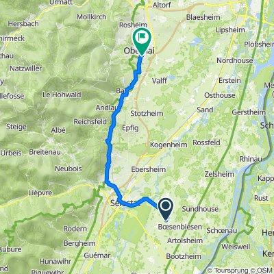 De Rue Vosges 1, Baldenheim à Rue Maréchal de Lattre de Tassigny 1, Obernai