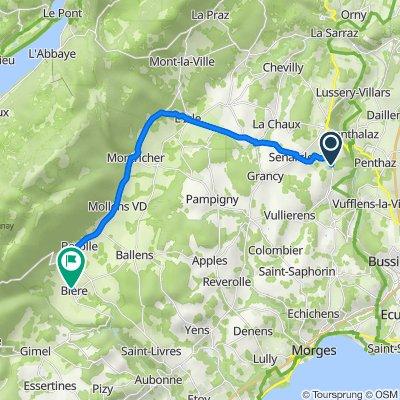 De Route de Gollion 11, Cossonay à Route du Marchairuz 3–7, Bière