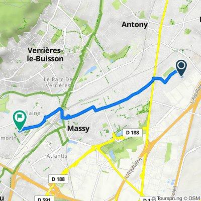 De 21 Rue de l'Aubépine, Antony à 40 Rue des Ruelles, Massy