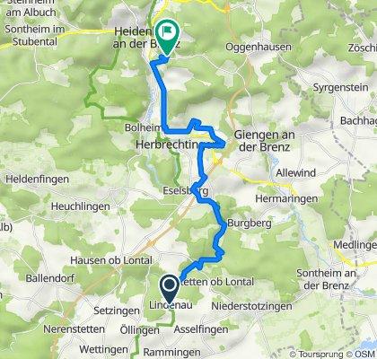 Lindenau 1, Rammingen nach Friedrich-Voith-Straße 76, Heidenheim an der Brenz