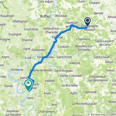 5–11 Zone Artisanale Éco Les Grandes Gagnards, Champagne-Mouton nach Allée du Docteur Vivier, Montignac-Charente