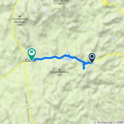Legion Lake Shore Trail, Custer to 110 S Sixth St, Custer
