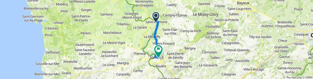 De Rue de la 30E Division Us 16, Saint-Fromond à Rue Maréchal Leclerc 14, Saint-Lô