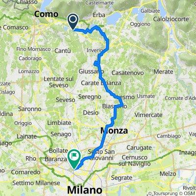Via Per Alzate 30, Montorfano nach Via Enrico Cosenz 54, Milano