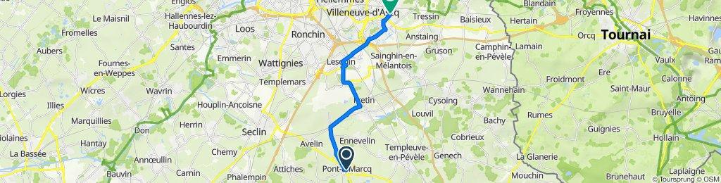 De Rue du Maréchal Leclerc 10, Pont-à-Marcq à Rue Gaston Baratte 66, Villeneuve-d'Ascq