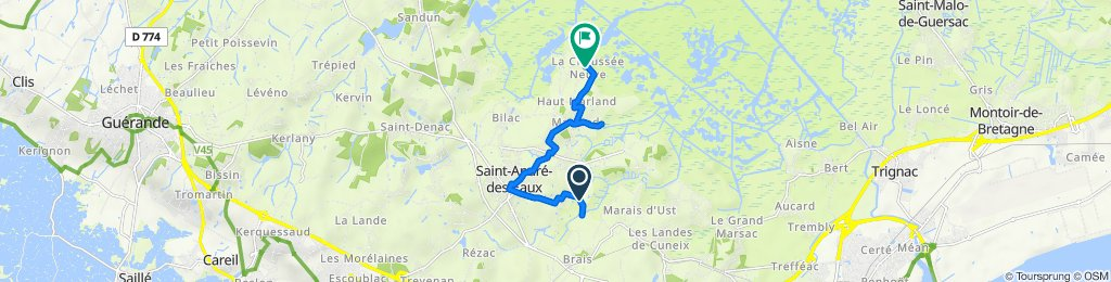 De 26 Route de la Ville Jono, Saint-André-des-Eaux à 64 La Chaume Neuve, Saint-André-des-Eaux