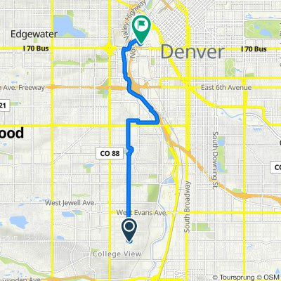2700 S Zuni St, Englewood to 1201 Fifth St, Denver