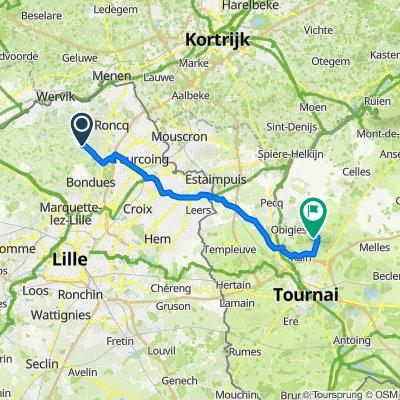 De 112 Rue de Roubaix, Linselles à Chemin des Pèlerins, Tournai