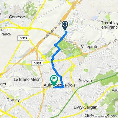 De Avenue de la Plaine de France, Villepinte à 9 Rue Anatole France, Aulnay-sous-Bois