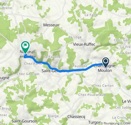 2–10 Rue de l'Église, Champagne-Mouton to 4 Rue de l'Abbaye, Nanteuil-en-Vallée