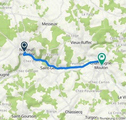4 Rue de l'Abbaye, Nanteuil-en-Vallée to 2–10 Rue de l'Église, Champagne-Mouton