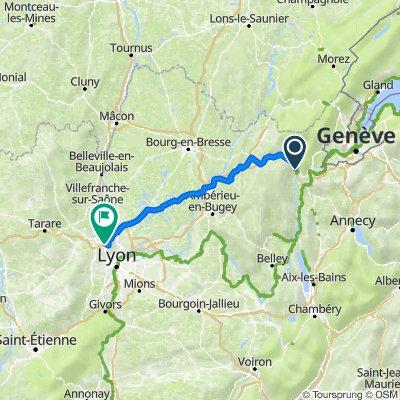 De Route de Lyon, Bellegarde-sur-Valserine à 225 Avenue du Général de Gaulle, Limonest