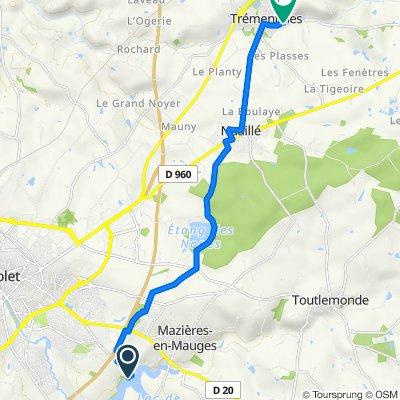 De Allée de la Roche du Ribalet 37-35, Cholet à Rue de l'Abbé Rousseau 11, Trémentines