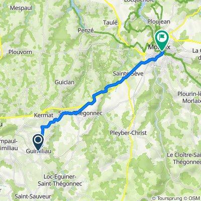 De 4 Rue du Calvaire, Guimiliau à 2 Place Armand Cloarec, Morlaix
