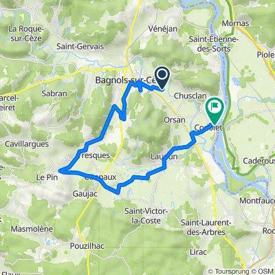 De 1021 Chemin Vieux de Chusclan, Bagnols-sur-Cèze à Chemin du Lac, Codolet