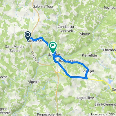 De 1135 Route de Jandilloux, Saint-Martin-Sepert à 2 Allée de la Papeterie, Uzerche