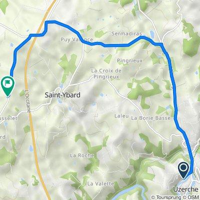 De 2 Allée de la Papeterie, Uzerche à 1135 Route de Jandilloux, Saint-Martin-Sepert