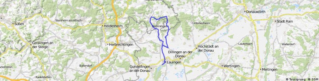 O Lauingen-Wittislingen-Ziertheim-Dischingen-Demmingen-Wittislingen-Lauingen