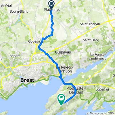 De 2B Rue Roz ar Vern, Plabennec à Kroaz ar Vosenn, Plougastel-Daoulas