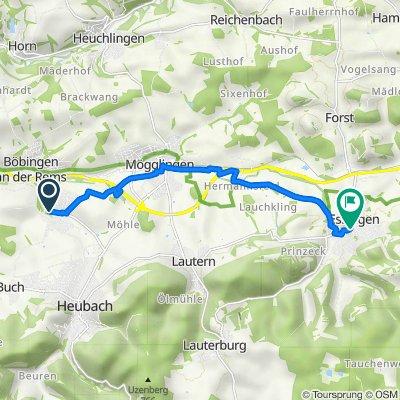 Scheuelbergstraße 14–16, Böbingen an der Rems nach Kirchgasse 3, Essingen
