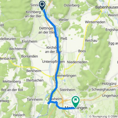 Werte, Kirchberg an der Iller nach Marktplatz 16, Memmingen