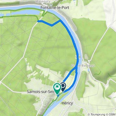 De 19A Chemin de Halage, Samois-sur-Seine à Boulevard Aristide Briand, Samois-sur-Seine