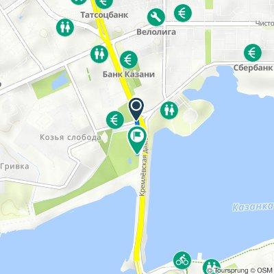 От улица Декабристов, 1А, Казань до Односторонка Гривки Улица, 1А, Казань