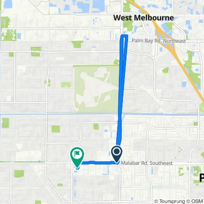 Route from 132 Malabar Rd SW, Palm Bay