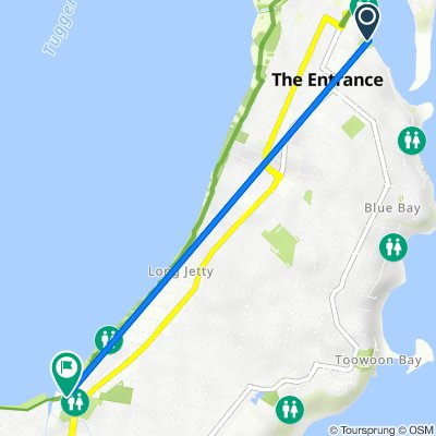 Route from 3 Marine Parade, The Entrance