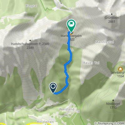 Route nach Marienberg-Almhütte 303, Obsteig