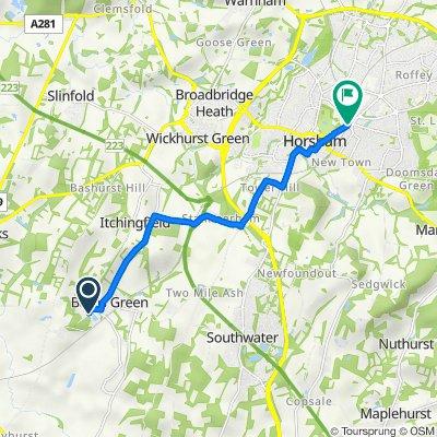 Sumners Ponds, Chapel Road, Horsham to North St, Horsham