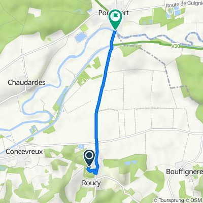 De 2 Rue de la Porte Saint-Pierre, Roucy à 57 Le Village, Pontavert