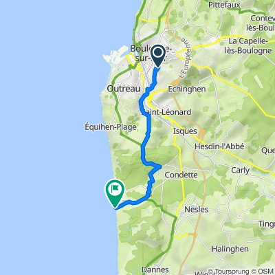 Route from 34 Rue Marcourt, Boulogne-sur-Mer
