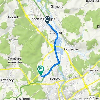 De 11 Rue d'Alsace (thaon-les-vosges), Thaon-les-Vosges à 18 Rue Leon Gambetta, Golbey