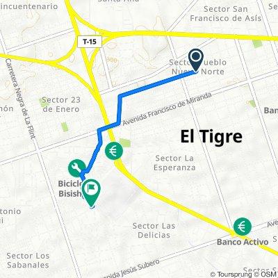 De VQV2+H55, El Tigre a VPGP+QX9, El Tigre