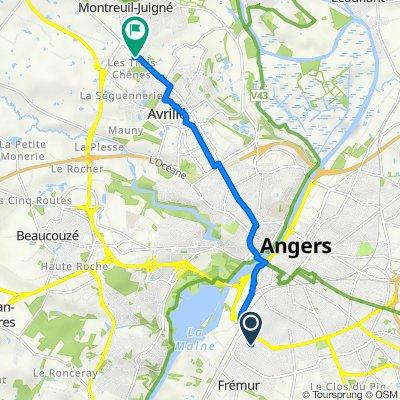 Itinéraire à partir de 6 Rue Gagarine, Angers
