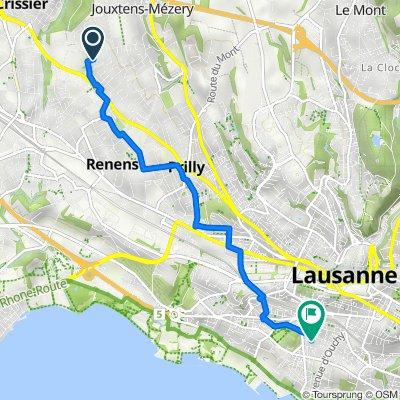 De Chemin de la Rueyre 95, Jouxtens-Mézery à Avenue Floréal 3, Lausanne