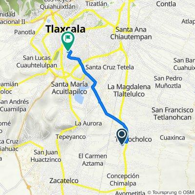 De Calle Ignacio Zaragoza, Teolocholco a Calle Jaime Nuno 9, Tlaxcala de Xicohténcatl