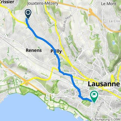 De Chemin de la Rueyre 101, Jouxtens-Mézery à Avenue Floréal 1–5, Lausanne