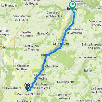 De Route d'Orbec 8, Montreuil-l'Argillé à Rue Bernard Gombert 8, Bernay