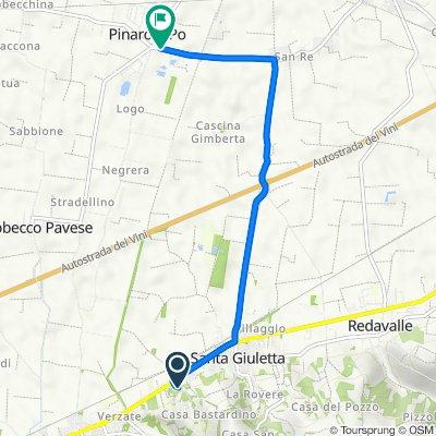 Da Via Monteceresino, Santa Giuletta a Via Angelo Cazzola 18, Pinarolo Po