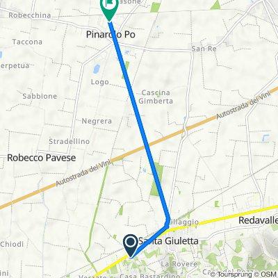 Da Strada Privata delle Robinie 15, Santa Giuletta a Via Sandro Pertini 22, Pinarolo Po